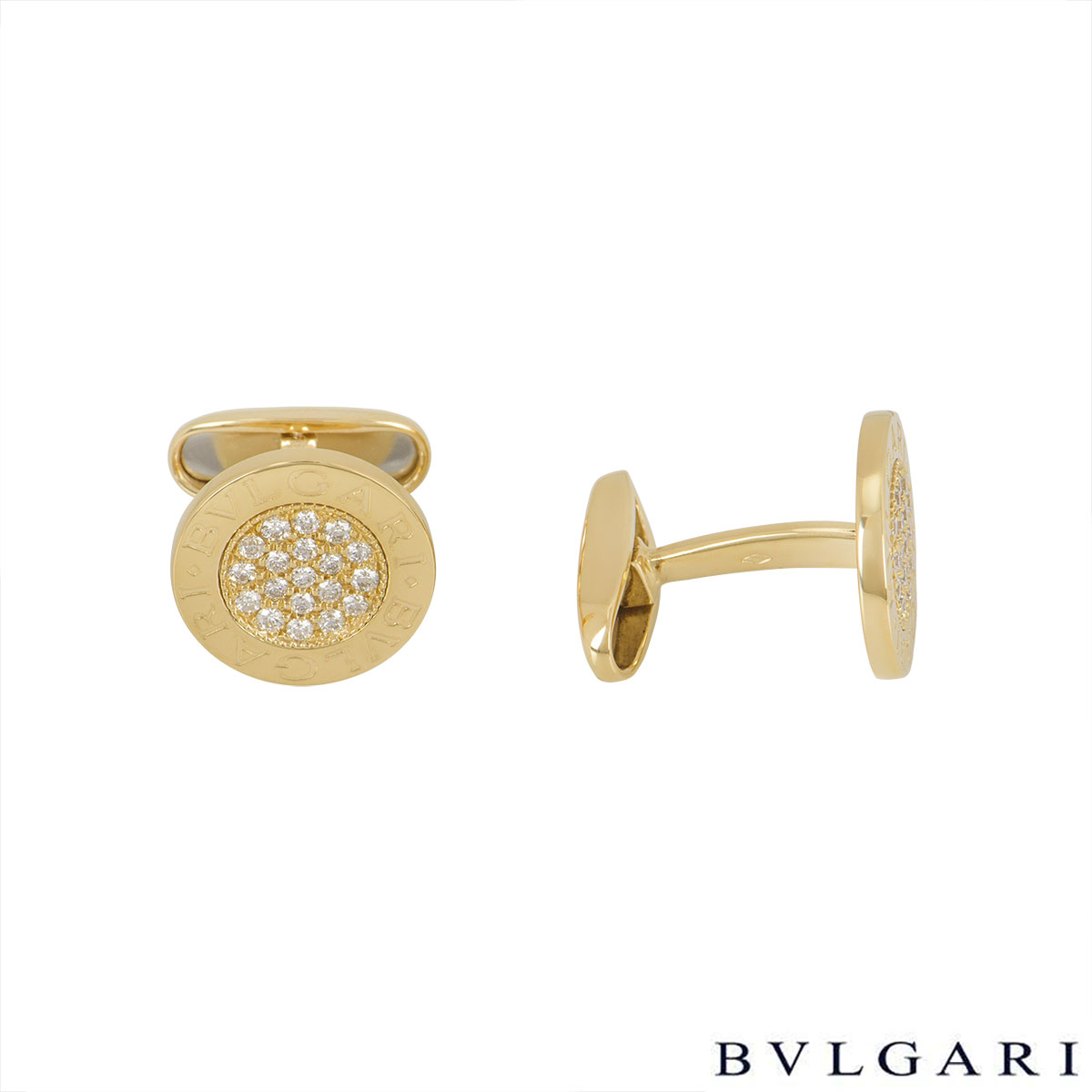Bvlgari Yellow Gold Bvlgari Bvlgari Diamond Cufflinks